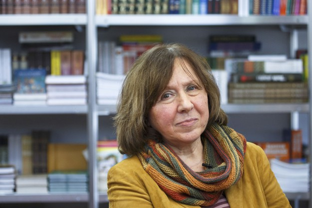 Belarussian writer Svetlana Alexievich is seen during a book fair in Minsk, Belarus, in this February 8, 2014 file photo. Alexievich won the 2015 Nobel Prize for Literature, the award-giving body announced on October 8, 2015. REUTERS/Stringer/Files